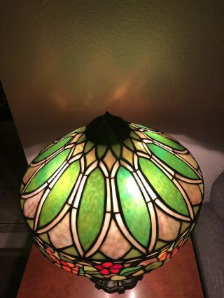 Duffner & kimberly Floral Nasturtium Border Leaded Stained Glass Lamp Shade 5