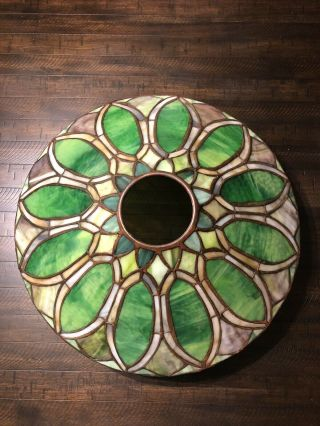 Duffner & kimberly Floral Nasturtium Border Leaded Stained Glass Lamp Shade 7