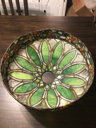 Duffner & kimberly Floral Nasturtium Border Leaded Stained Glass Lamp Shade 8