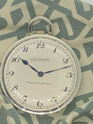 Patek Philippe Triple Signed 18k White Gold Pocket Watch Exc Runs Nr