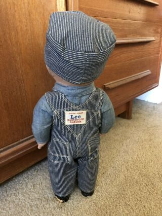VTG Buddy Lee Hard Conposition Railroad Doll Union Made Striped Overalls Hat 2
