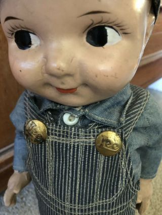 VTG Buddy Lee Hard Conposition Railroad Doll Union Made Striped Overalls Hat 3