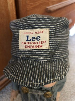 VTG Buddy Lee Hard Conposition Railroad Doll Union Made Striped Overalls Hat 5