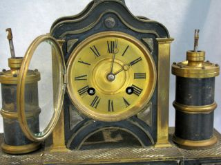 Antique FRENCH MEDAILLE BRONZE MECHANICAL CLOCK - 2