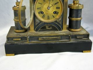 Antique FRENCH MEDAILLE BRONZE MECHANICAL CLOCK - 5