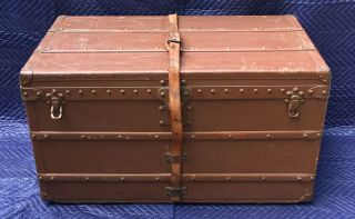 Antique 1900 - 1905 Lv Louis Vuitton Steamer Trunk W/ Orig Brass Leather Painted