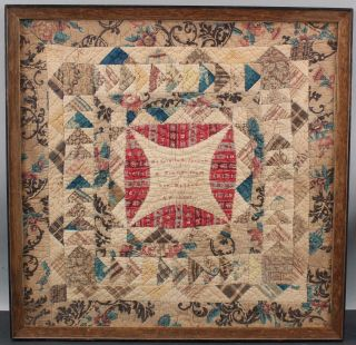 Signed 1847 Antique 19thC Miniature American Folk Art Childs Baby Doll Quilt 2