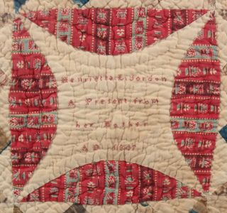 Signed 1847 Antique 19thC Miniature American Folk Art Childs Baby Doll Quilt 5