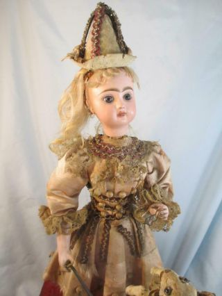 Antique French Jumeau Bisque Doll Automaton Girl & Dog Tricks No Mechanism
