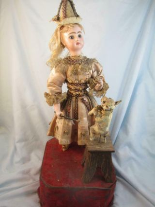 Antique French Jumeau Bisque Doll Automaton Girl & Dog Tricks No Mechanism 2