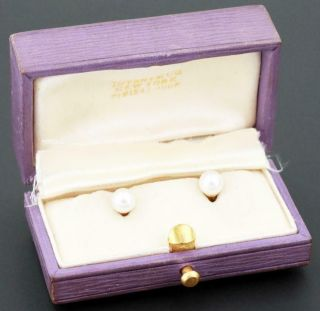 Rare Vintage Tiffany & Co.  Solid 18k Yellow Gold Pearl Cufflinks