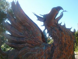 American Folk Artist Signed Glorious Winged Griffin Copper Weathervane 2