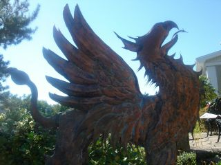 American Folk Artist Signed Glorious Winged Griffin Copper Weathervane 3