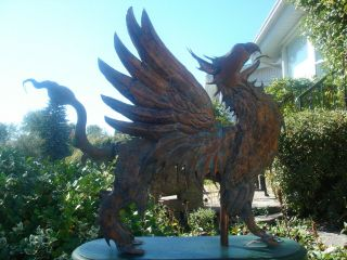 American Folk Artist Signed Glorious Winged Griffin Copper Weathervane 4