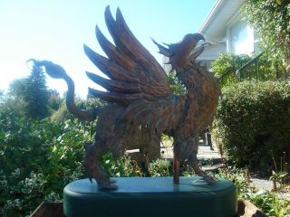 American Folk Artist Signed Glorious Winged Griffin Copper Weathervane 5