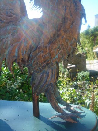 American Folk Artist Signed Glorious Winged Griffin Copper Weathervane 7