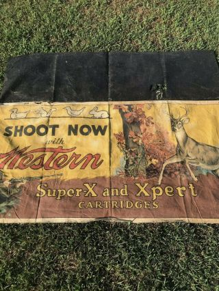 Vtg Winchester Cloth Shooting Gallery Table Banner Sign - So RaRe 12