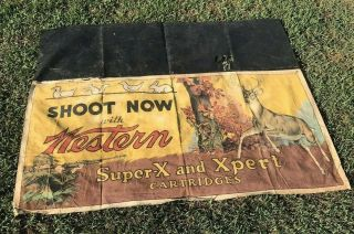 Vtg Winchester Cloth Shooting Gallery Table Banner Sign - So RaRe 6