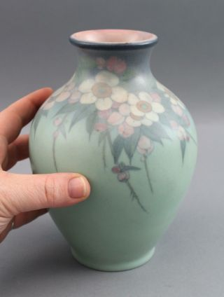 1929 Antique Lenore Asbury Rookwood Flowers Art Pottery Arts & Crafts Vase