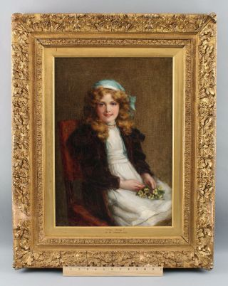 1908 Antique George Sheridan Knowles Portrait Oil Painting Young Girl W/ Flowers