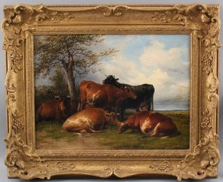 Antique Thomas Sidney Cooper English Bucolic Country Cow Landscape Oil Painting