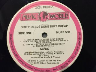 Ac/dc Rare Dirty Deeds Done Dirt Zealand Only Music World Lp