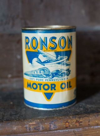 Rare Antique Ronson Motor Oil Pennsylvania Quart Tin Can Plane Car Train Sign