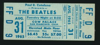 Beatles Vintage Very Rare 1965 San Francisco Full Ticket