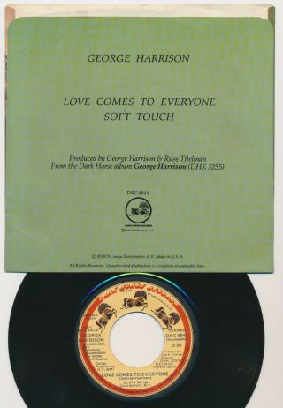 Beatles ULTRA RARE GEORGE HARRISON ' LOVE COMES TO EVERYONE ' PICTURE SLEEVE 2