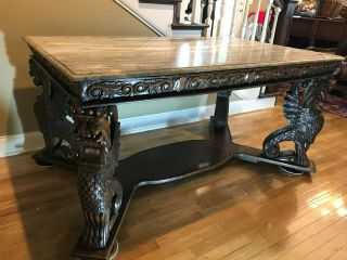 Table Marble Top,  Gargoyle Carved Legs (36 X 60 Inches),  Height 28 1/2 Inch