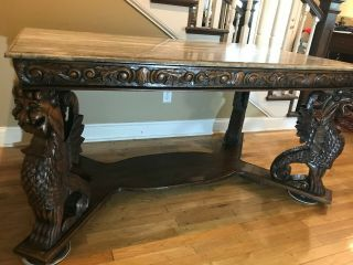 Table Marble top,  gargoyle carved legs (36 X 60 inches),  height 28 1/2 inch 6