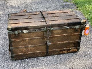 Antique Louis Vuitton Trunk Lv Signature Canvas (needs Restoration)