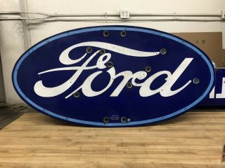 Double Sided Porcelain Neon Ford Dealership Sign RARE VERSION 2