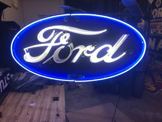 Double Sided Porcelain Neon Ford Dealership Sign RARE VERSION 3