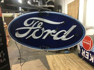 Double Sided Porcelain Neon Ford Dealership Sign RARE VERSION 4