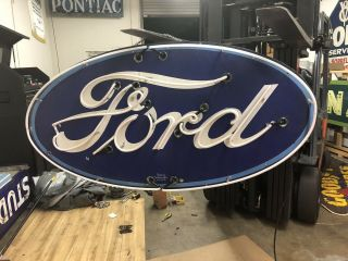 Double Sided Porcelain Neon Ford Dealership Sign RARE VERSION 5