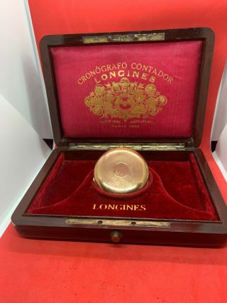 Solid 18k Gold Longines 1/4 Hour Repeater Pocket Watch Full Hunter 52mm W/ Box