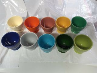 "Vintage Fiestaware Egg Cups All 10 Colors "" Very Rare Set """