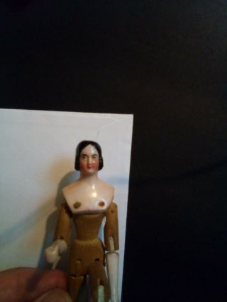 Antique Germany Porcelain head Miniature Doll fully jointed wood body 1840 - 50 4