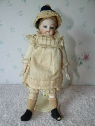 "Antique Rare Barefoot 5 3/4 "" French All Bisque Mignonnette Doll Glass Sleep Eyes"