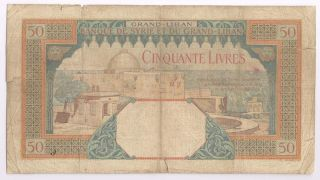 Syrie Lebanon 50 Livres 1925 Extremely Rare And Circulating Pick Lp