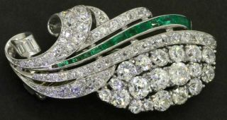 Antique Heavy Platinum 7.  75ctw Vs Diamond/emerald Cluster Brooch W/2x.  50ct Ctrs.