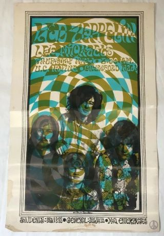 Led Zeppelin & Lee Michaels - 1969 Uc Irvine Concert Poster - Rare