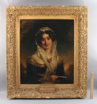 Antique George Harlow Portrait Oil Painting Of Harriet Siddons Scottish Actress