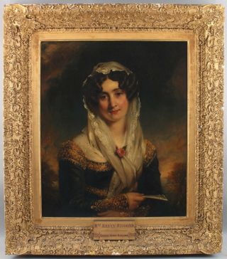Antique GEORGE HARLOW Portrait Oil Painting of Harriet Siddons Scottish Actress 2