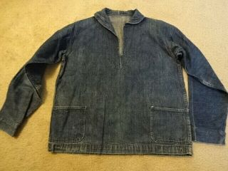 Vintage Ww2 40s U.  S Navy Denim Shawl Collar Jacket Pull Over Rare