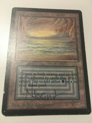 1 X Underground Sea Mtg Limited Edition Beta Magic Rare Land Signed