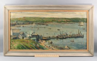 Large Antique Harry Shokler Oil Painting,  Mantauk Harbor Long Island York