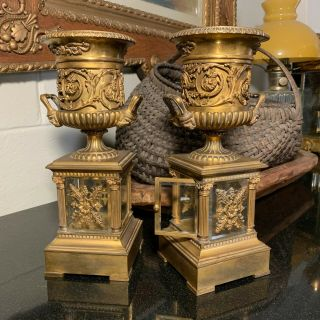 C.  1820 French Restauration Gold Gilt Medici Style Ormolu Mantle Urns Or Vases