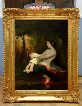 Fine Large Antique Mid 19thc Oil Painting Orientalist Nude In Landscape